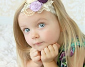Vintage Chic Ivory Lavender and Deep Purple Plum Satin Rosette Trio & Pearl Bling Cluster Childrens Infants Ladies Headband or Hair Clip