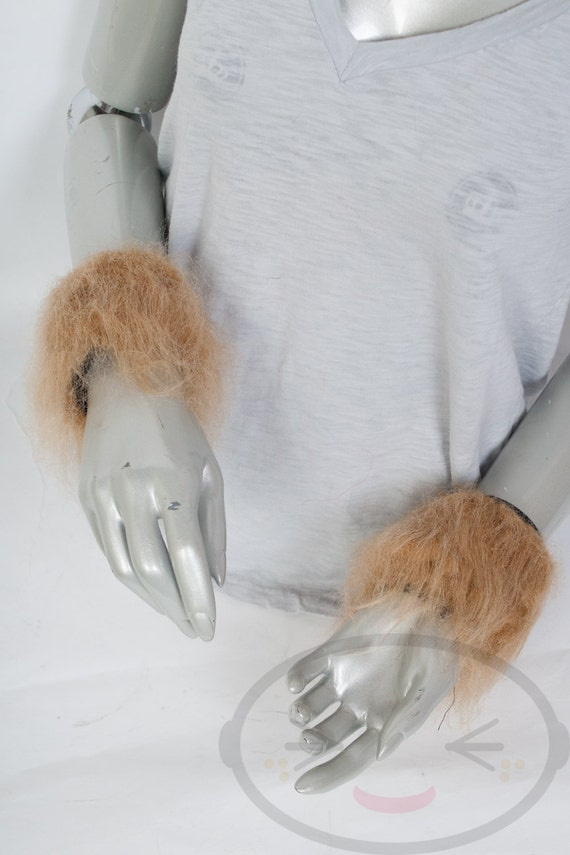 Gold / Tan Furry Wrist Poof Cuffs - Animal Costume, Rave, Goth, Cosplay