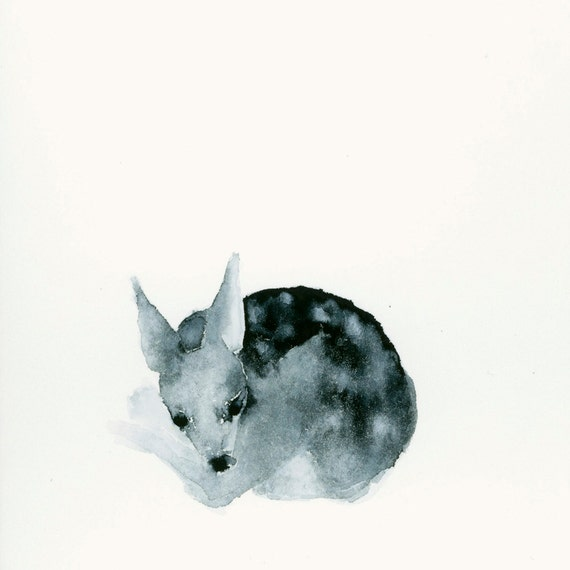 Fine Art Print from Original Watercolor Tiny Sleeping Ghost Fawn