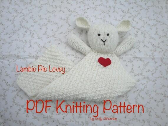 Items similar to Lambie Pie Lovey PDF Knitting Pattern ...