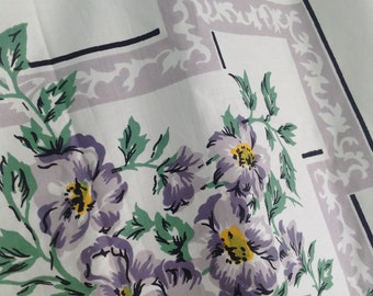 Vintage Floral Table Cloth, Cutter Table Cloth, Vintage Craft Fabric, Grey White Flower Table Cloth, Large Rectangle Tablecloth