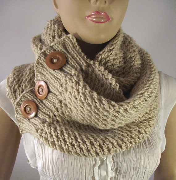 Knitted Cowl Pattern With Buttons : KNITTING PATTERN Big Scarf Cowl Lou Lou Scarf by LiliaCraftParty