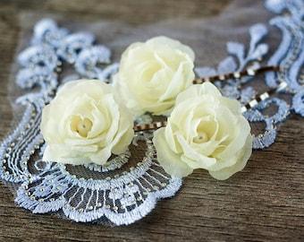 71_Hair flower pin, Bridesmaid hair flower pin, Pale yellow hair flower pin, Flower hair Pins, Floral bridesmaid gift Bridal hair pin Bridal