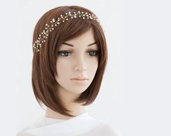 14_Pearl headpiece, Gold bridesmaid headpiece, Crystal headpiece, Wedding headband, Bridesmaid crown, Hair accessories, Headpiece, Crown.