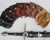 1 Sporran Style Medieval Leather Pouch Bag - Choose Your Color - Renaissance Handmade