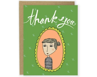 Thank You Card - Stripe Girl - Thanks Card, Thank You Notecard, Illustrated Card, Stationery