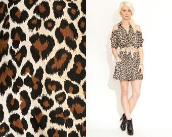 Vintage 90s Leopard 2 Piece Crop Top Shorts Skort Out Fit Jumper Dress // Set // Cut Out Shoulder