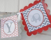 Oh baby banner, red and grey, elephant, mod elephant baby shower