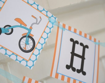 Vintage tricycle Happy Birthday banner-orange and turquoise tricycle party