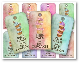 Digital Collage Sheet Download - Keep Calm and Eat Cupcake Gift Tags -  227  - Digital Paper - Instant Download Printables