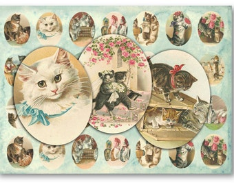 Digital Collage Sheet Download - Victorian Cats 30 x 40mm Ovals  -  878   for Jewelry Pendants - Instant Download Printables
