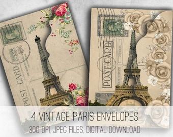Digital Collage Sheet Download - Vintage Paris Postcard Envelopes -  1032  - Digital Paper - Instant Download Printables