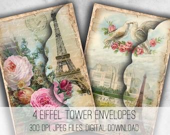 Digital Collage Sheet Download - Eiffel Tower Envelopes -  1038  - Digital Paper - Instant Download Printables