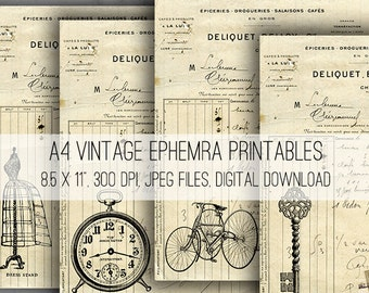 Digital Images - Digital Collage Sheet Download - A4 Vintage Ephemera -  1046  - Digital Paper - Instant Download Printables
