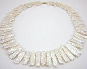 RESERVED for Nina Stunning 14k gold and Natural white biwa pearl necklace with fantastic luster - wedding pearls - flat stick pearls