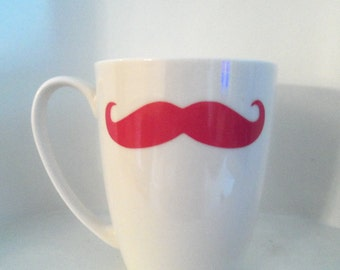 Mustache Mug, Pink Mustache Mug, Housewares,Coffee Mug, Home and Living, Mustache Mugs , Cups & Mugs, Gift Ideas , mugs, Christmas, Holidays