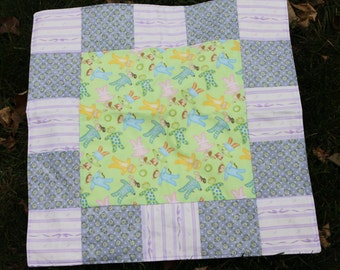 Doll Quilt - Purple- Green- Scrappy Patchwork quilt- handmade- American Girl Doll Quilt
