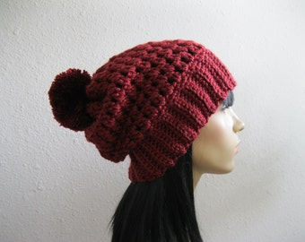 Crocheted Slouchy Beanie Hat Oxblood Red Back to School Fall Hat - Ready to Ship