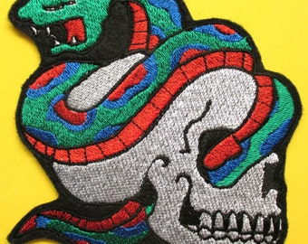 Large Embroidered Skull with Snake Applique Patch, Iron On or Sew On Patch, Biker, Gothic, Military, Bad Boy Patch