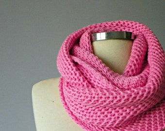 SALE, infinity scarf, Cowl scarf, hood loop, knit scarf, winter accessories, candy pink, chunky scarf, scarves