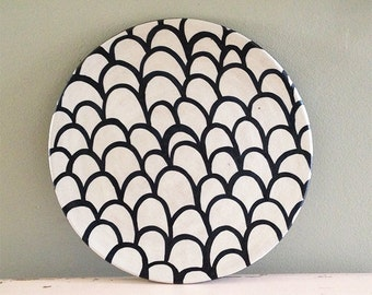 Ceramic plate nearly black deep blue and white organic design. Scales.  sc 1 st  Etsy & Ceramic plate nearly black deep blue and white organic