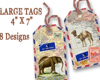 8 VINTAGE AIRMAIL TAGS 4 x 7in maps stamps travel tags printable gift tags hangtags Magentabelle printable download 140