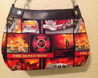 Firefighters print SUITE skirt purse skirt cover handmade Thirty one