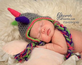 Dinosaur Crochet Hat and Diaper Cover newborn crochet prop set