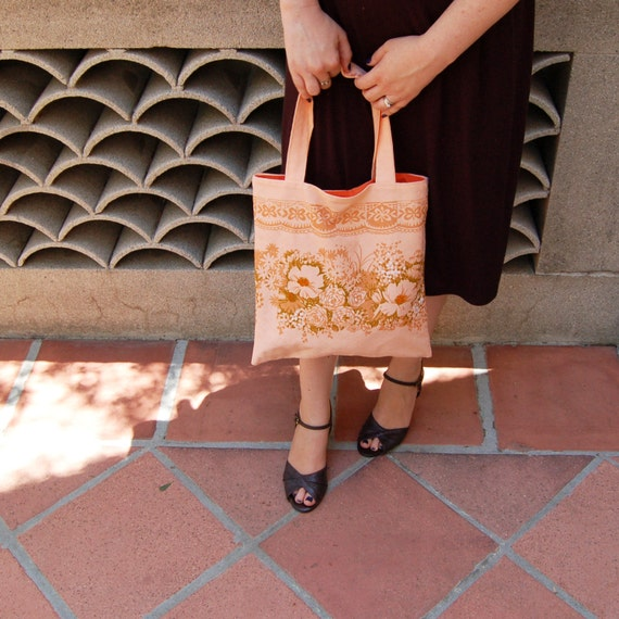 Coral Tote Bag, Small Tote Handbag, Vintage Fabric Bag, Coral Tote Purse, Gift for Women, Gift for her, Gift under 30, Ready to Ship