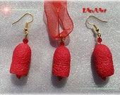 Sweet Red Fruits silk jewelry- raspberries, cranberries- painted silk cocoons and crystal beads - earrings & pendant, forest fruits, natural