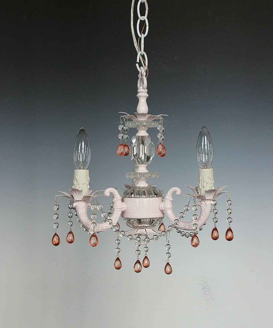Pink Chandelier Shabby Chic Style Lighting Nursery Lighting