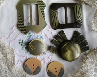 Vintage Buttons and Buckles - Art Deco Celluloid Buckles and Buttons Wafer Layered 1930s