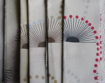 Designer Fabric Samples - 5 Fat Quarters - 100% Cotton - Camilla Pattern in Powder Pink, Natural, Duckegg, Sage, Rouge - Cushion Fabric
