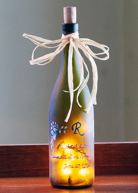 Engraved Wine Bottles For Wedding Gift : Personalized Wedding GiftCustom Lighted Wine BottleUnique ...