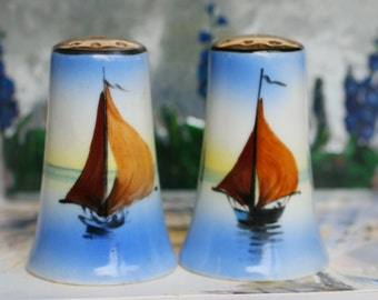 Sail Boat Salt and Pepper Shakers, Made In Japan Porcelain Salt Shaker, Natuical Sail Boat Salt and Pepper Shakers.