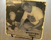 Photo on Tile - World's Best Daddy! Personalized Photo Tile with Stand. 6x6 inch