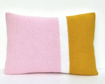 Mustard, white and pink crochet and fabric cushion