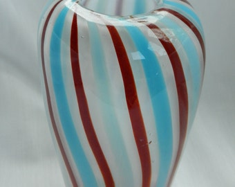 Hand blown alabaster glass vase with red and aqua vertical stripes