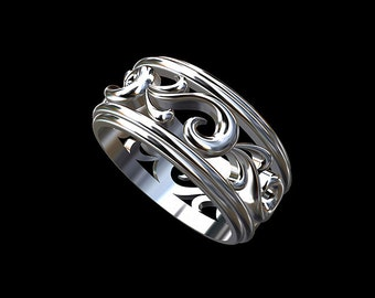 Floral Men's Wedding Band, Swirl Vine Gold Men's Band, Eternity Men's Wedding Ring, White Gold Ring,Filigree Cut Out Unique Men's Band 8.5mm