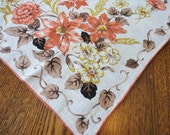 Floral Linen Handkerchief Rust & Gold Flowers, Brown Leaves - Hand Rolled Hem Unused