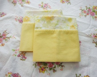 Vintage Full Flat Sheet & Pillowcases Mismatched Set - Floral Pink Yellow Peach