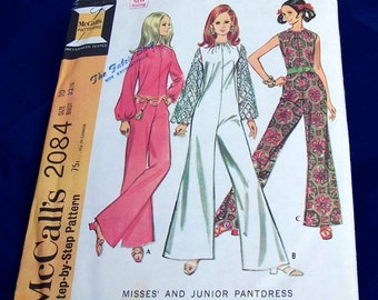"""Vintage 1969 McCall's Misses and Junior PantDress in 3 Versions Size10 32 1/2"""" Bust"""