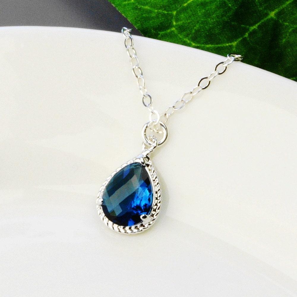 navy blue necklace silver navy blue sapphire pendant