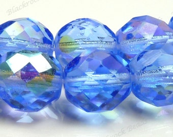 10mm Blue AB Round Czech Glass Beads - 10pcs - Faceted, Fire Polished - BE37