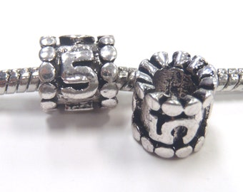 3 Beads - Number Numeral 5 Silver European Bead Charm E1065