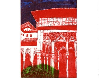 Alhambra Courtyard Etching & Chine Colle Hand Pulled Original Print 6/10