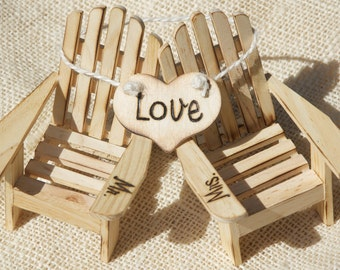 Cake Topper Adirondack Chairs Beach Wedding Cottage