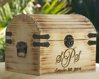 Medium Rustic Wedding Card Box - Monogram Treasure Chest - Burned/Engraved - Personalized Rustic Card Box - Torched and hand Burned/Engraved