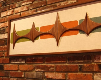 Mid Century Modern Abstract Wall Art Sculpture Painting Retro Eames Era Atomic