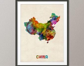 China Watercolor Map, Art Print (624)